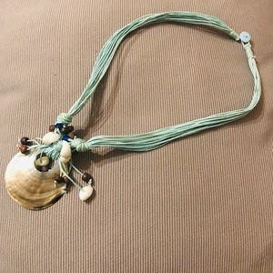 Beautiful Mint Green Necklace with a Shell pendant